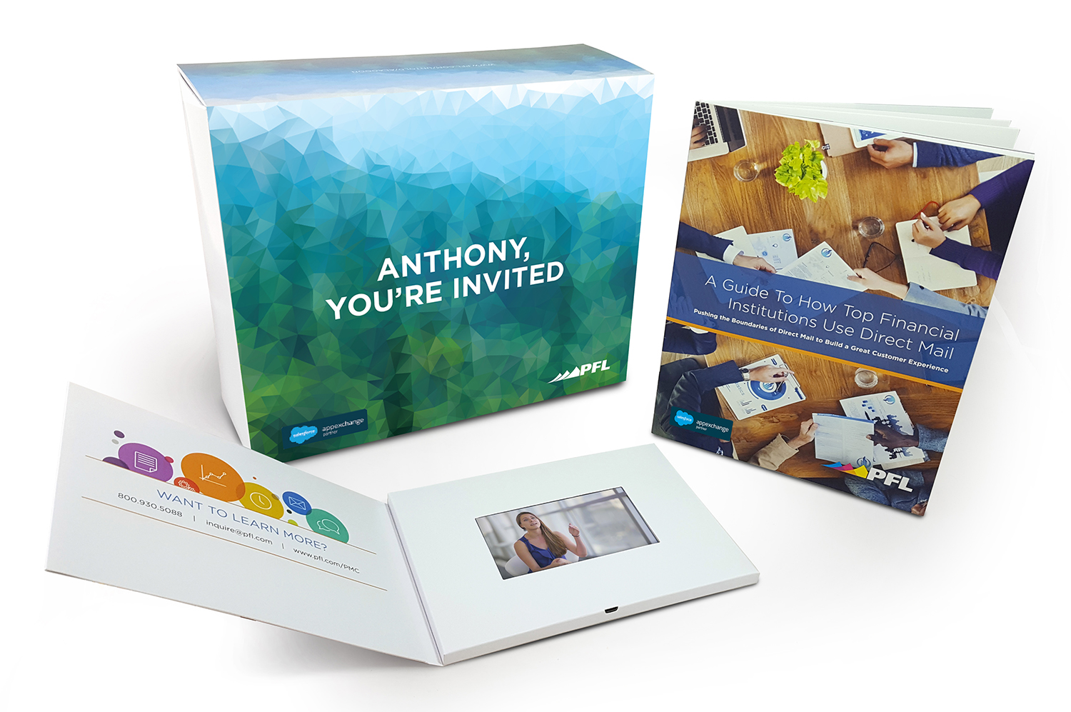 financial services direct mail video card