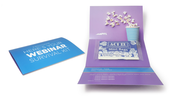 The popcorn mailer is an enhancement to your virtual events and is a great option for post-event follow-up.