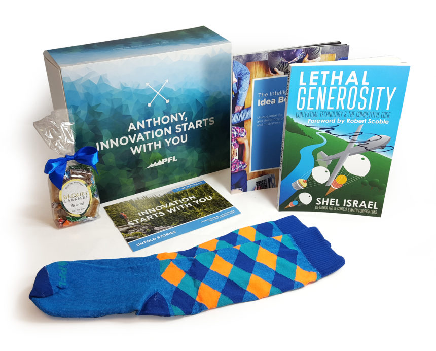 This attractive kit with multiple parts, including autographed book, sends several subconscious signals about quality and value.