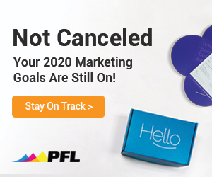 "A sample ad from the PFL Meme Easel campaign. The ad reads ""Not Canceled: Your 2020 Marketing Goals Are Still On!"""