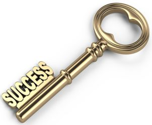 "This literal key to success has ""success"" written on it."