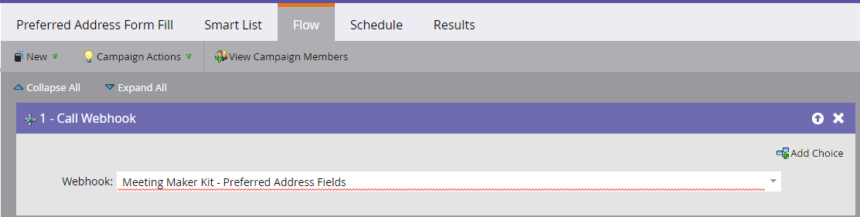 We added the preferred address fields webhook to the flow step of the TMA campaign in Marketo.