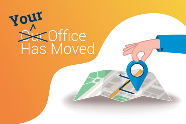 A location point on a map shows that someone has moved to a home office.
