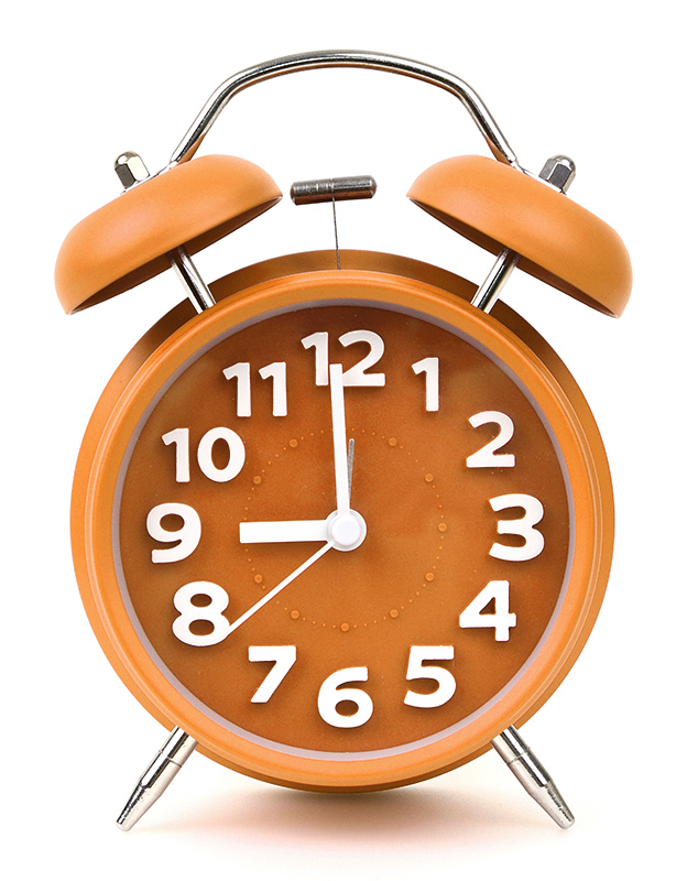 A PFL orange alarm clock tells the time. Be sure to set registration deadlines for your enhanced virtual experiences.