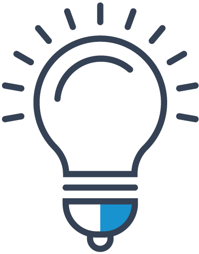 A light bulb icon