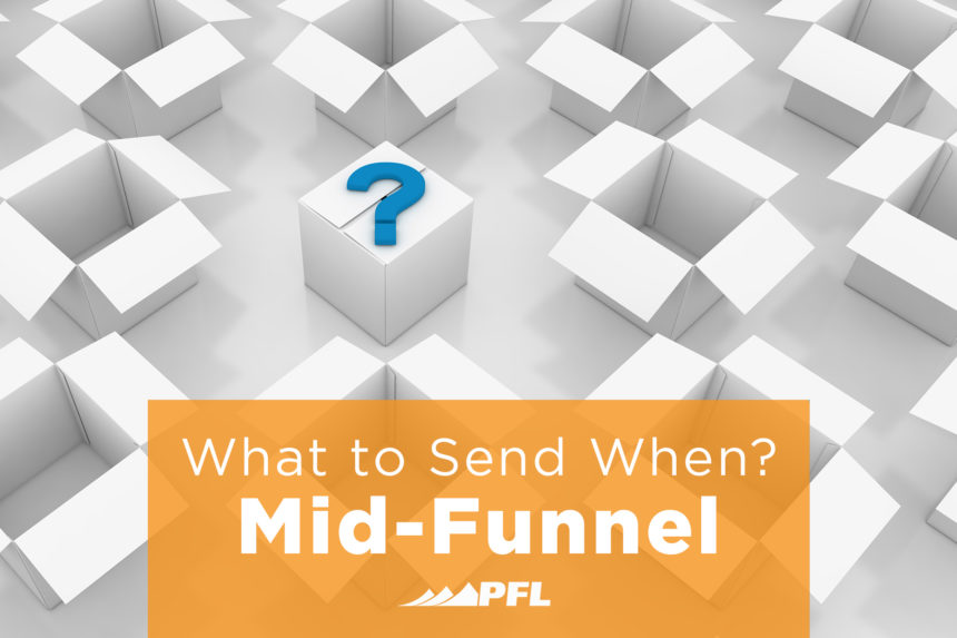 A question mark appears on a box, along with the title What to Send When? Mid-Funnel.