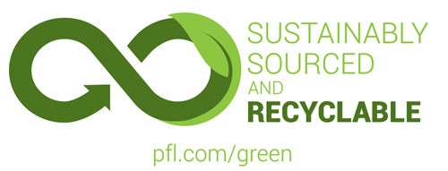 Sustainably Sourced and Recyclable Logo