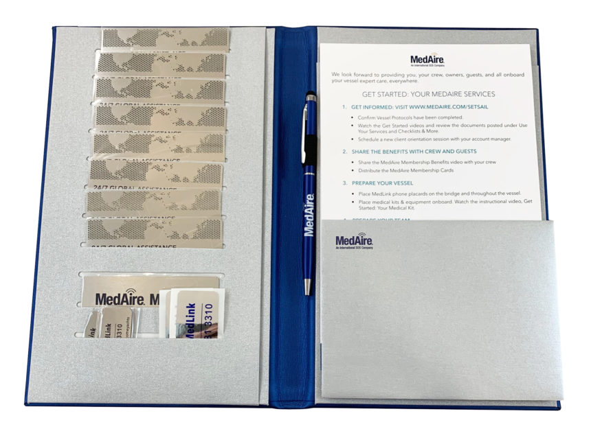The MedAire welcome kit includes a a very attractive folio and essential membership cards.
