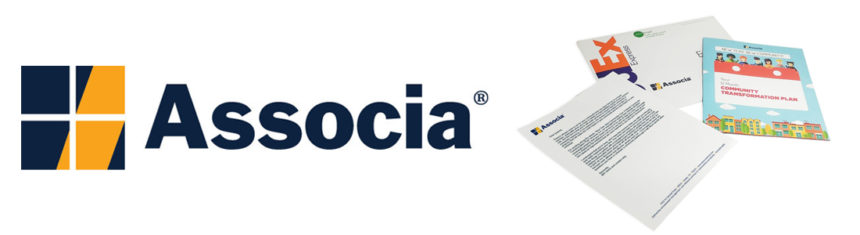 The Associa logo with a late funnel direct mail kit that helped convert stalled deals. They increases closed deals by 55%!