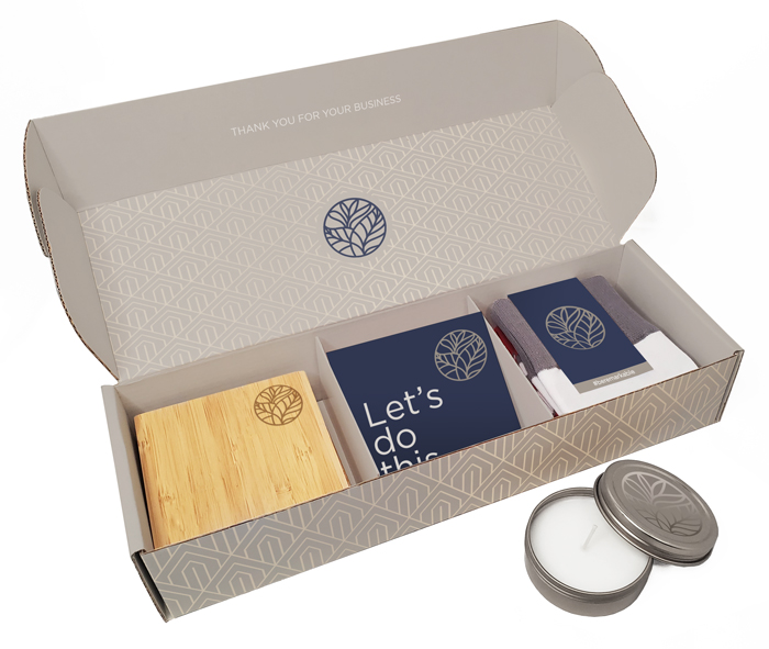 This is easily one of the best corporate gift ideas because you can really maximize your branding on the items and box.