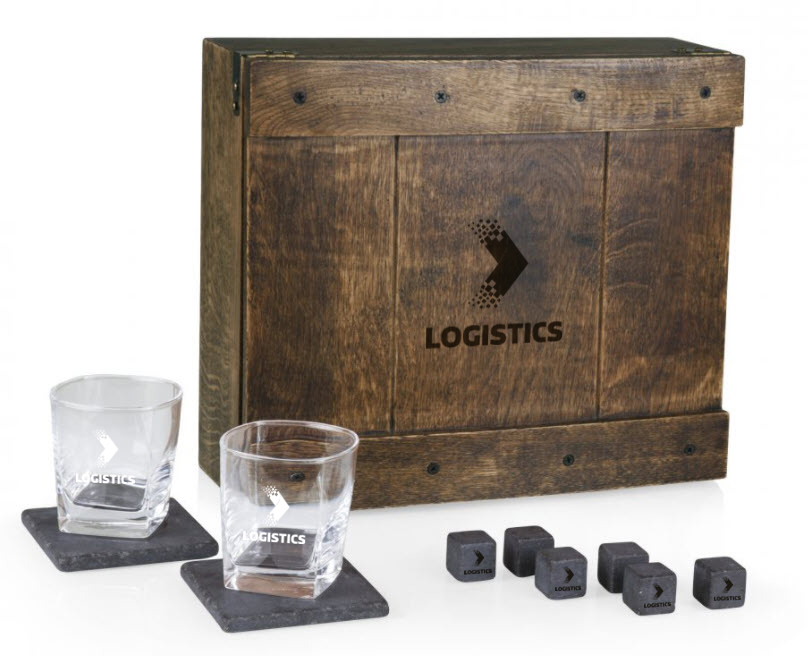 Go all out! Show your commitment to the business relationship when you deliver a super-classy gift like this whiskey box gift set.