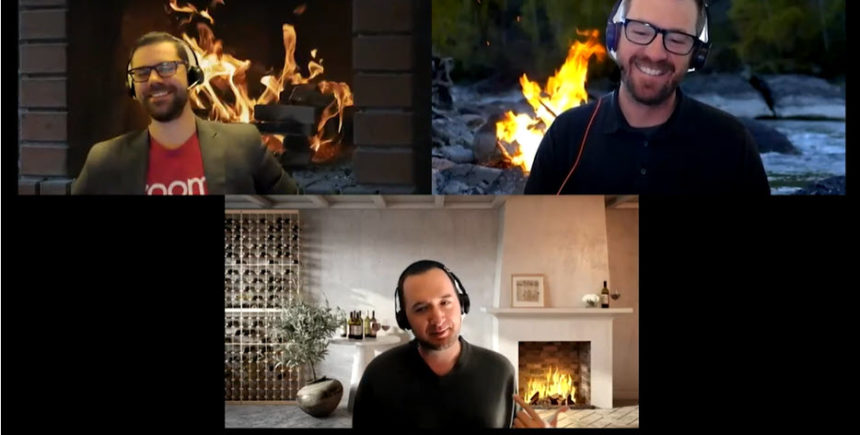 Austin Martin of Zoom, along with Nick Runyon and Charles Hawkins of PFL, took the idea of a fireside chat seriously with their cozy Zoom backgrounds.