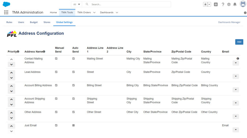 Address configuration in Salesforce TMA.