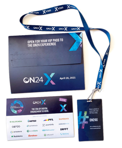 The ON24 flat mailer created a hybrid experience for virtual attendees with a lanyard, VIP pass, and notecard.