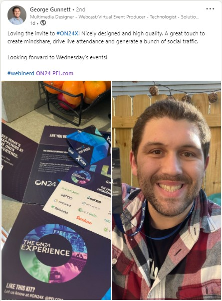 A LinkedIn post by George Gunnett featuring the ON24X VIP kit.