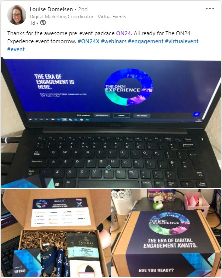 A LinkedIn post by Louise Domeisen featuring the ON24X VIP kit.