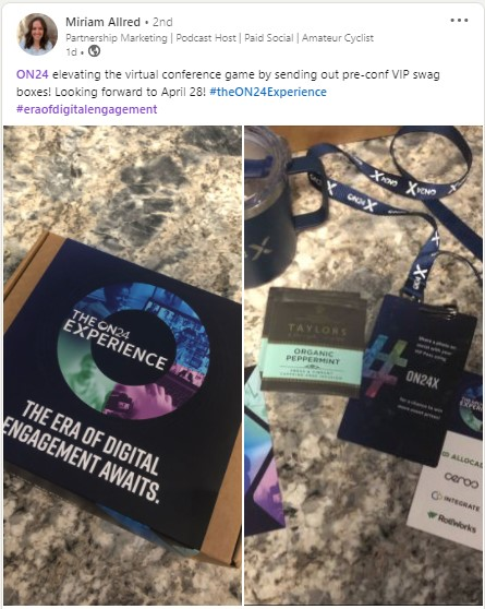 A LinkedIn post by Miriam Allred featuring the ON24X VIP kit.